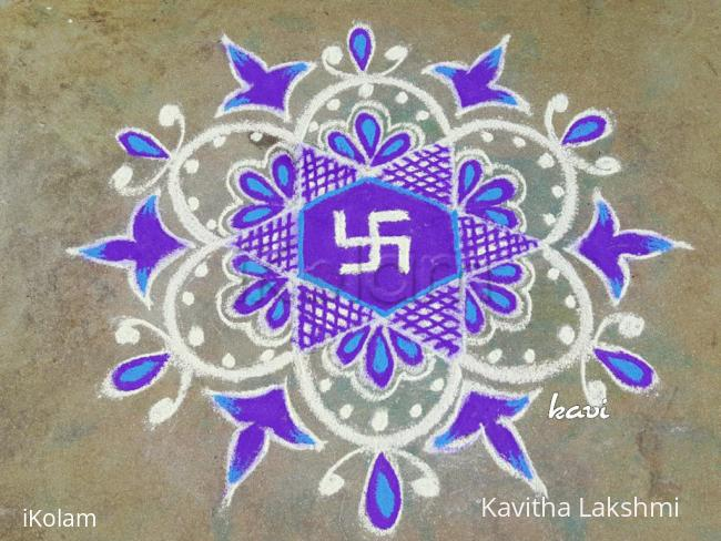 Rangoli: Navarathri day 9: color code: Purple
