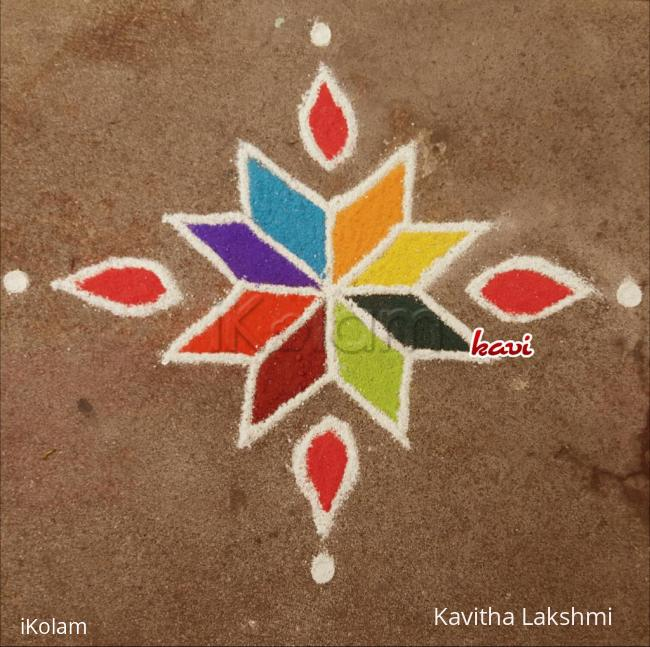 Rangoli: 7,5,3,1 straight dots simple & cute kolam