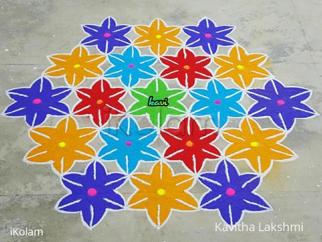 Rangoli: Colorful flowers kolam