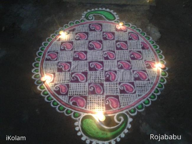 Rangoli: Thiru karthigai kolam 3