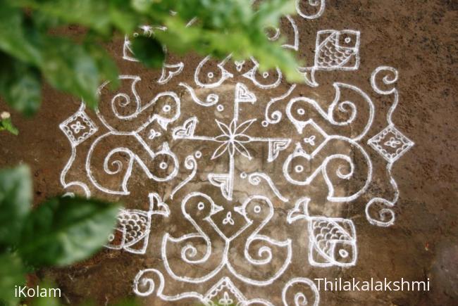 Rangoli: Duckling kolam