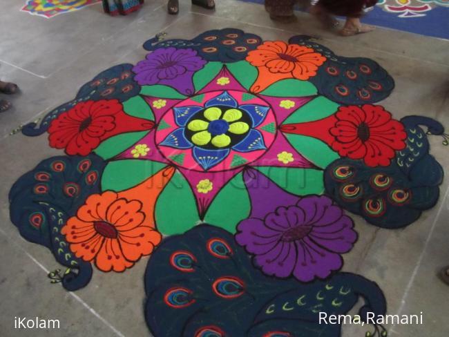 Rangoli: Peacock-flower kolam
