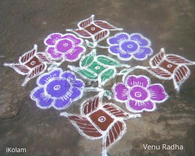 Rangoli: Star flower kolam