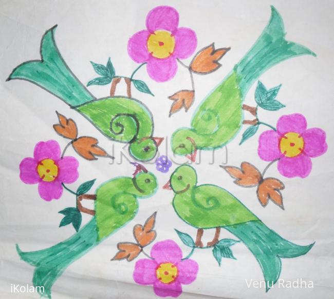 Rangoli: Parrot and flower Rangoli