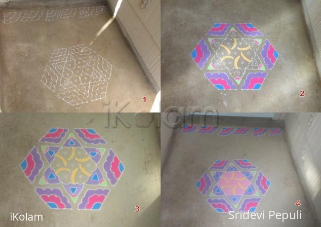 Rangoli: Umbrella  and Fan Dotted Rangoli