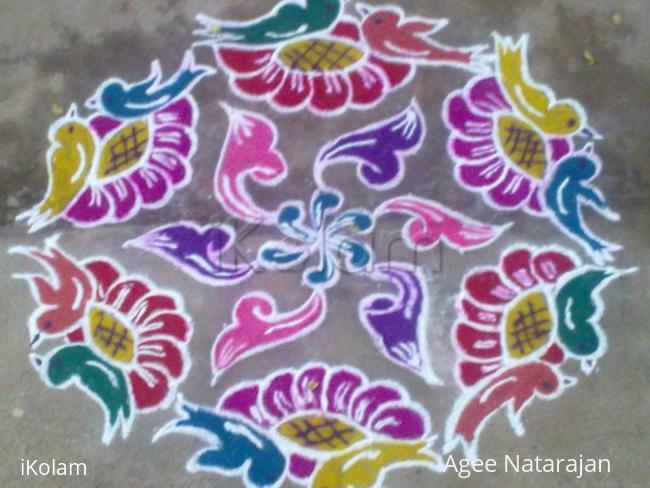 Rangoli: bird kolam- Dotted