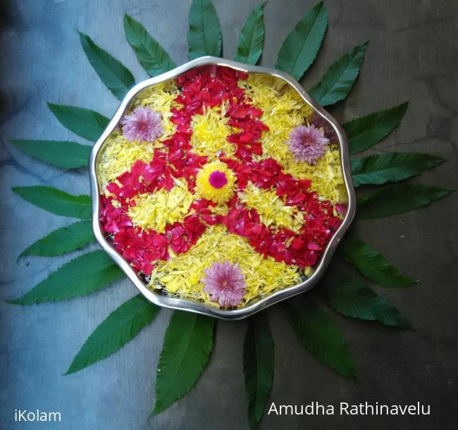 Rangoli: Flowers arrangement