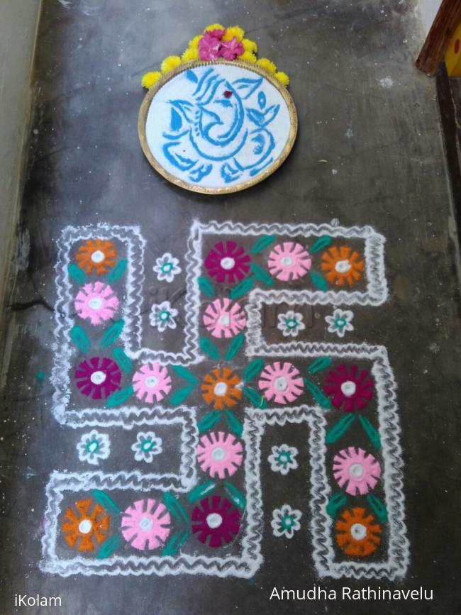 Rangoli: Ganesh with Swastik