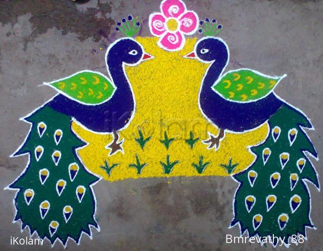 rangoli twin peacocks saying happy new year