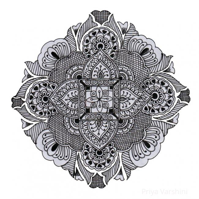 Black white simple rangoli
