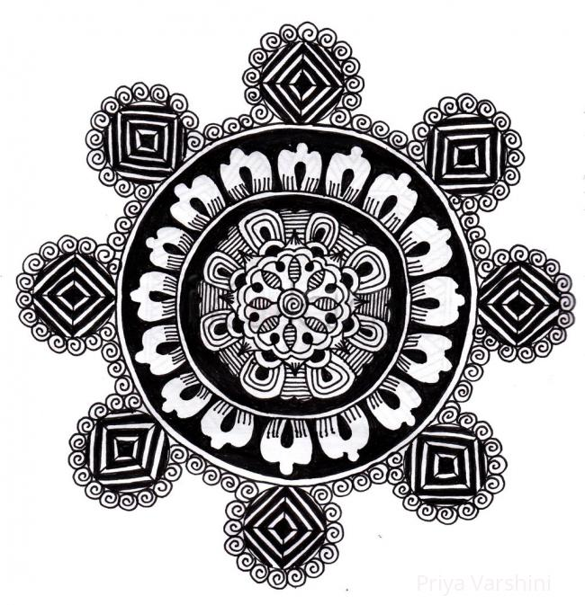 Simple rangoli black and white www ikolam com