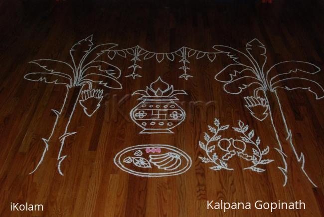 Rangoli: Outline of the Rangoli before coloring