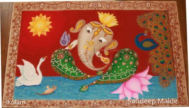 Rangoli: Ganesh with Swan and Peacock, Diwali 2016