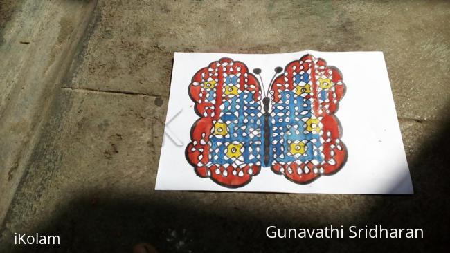 Rangoli: butterfly rangoli with dots