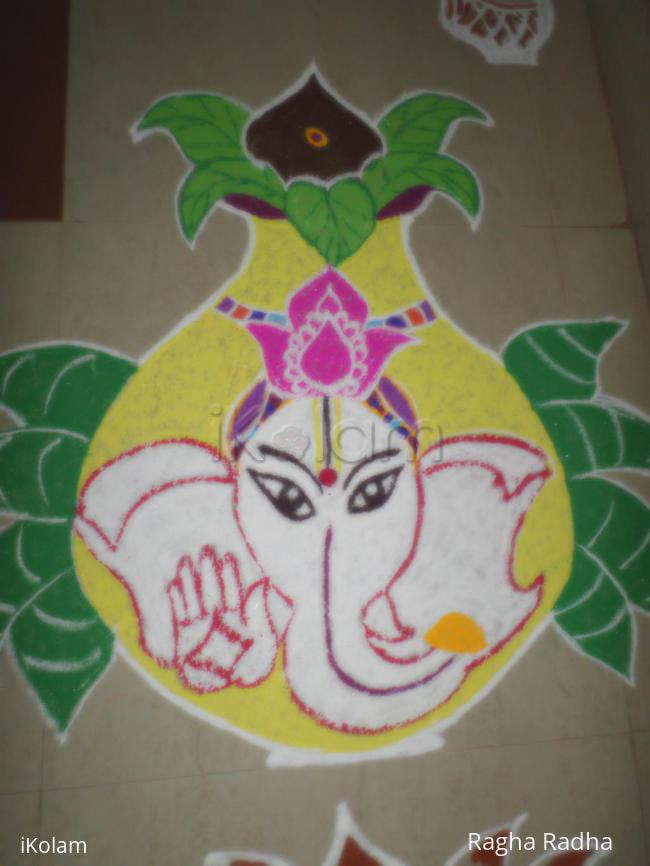 Rangoli: Pillayar in the kalasam