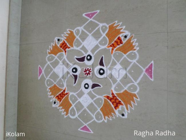 Rangoli: Fish in the feathers of Garudas