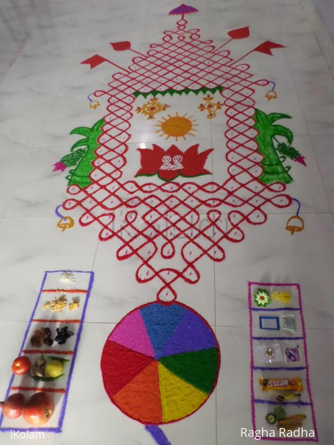 Rangoli: CHARIOT IN CHIKKU(O.I.) FOR RATHA SAPTHAMI