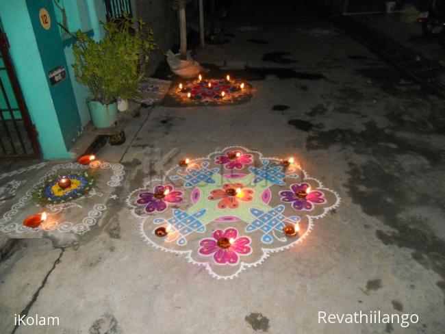 Karthigai Kolam & Deepam decoration   www.iKolam.com