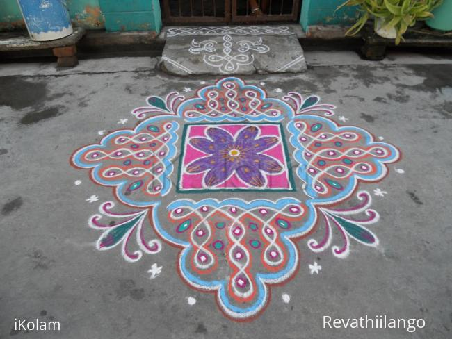 Rangoli: Chikku kolam & flower differently.