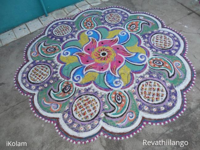 Rangoli: A twisted multi coloured rangoli.