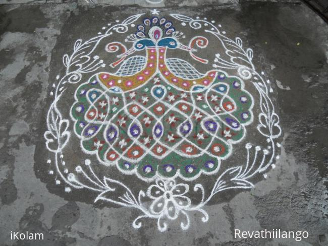 Rangoli: Rev's on the spot  kolam, Peacock chikku combined.