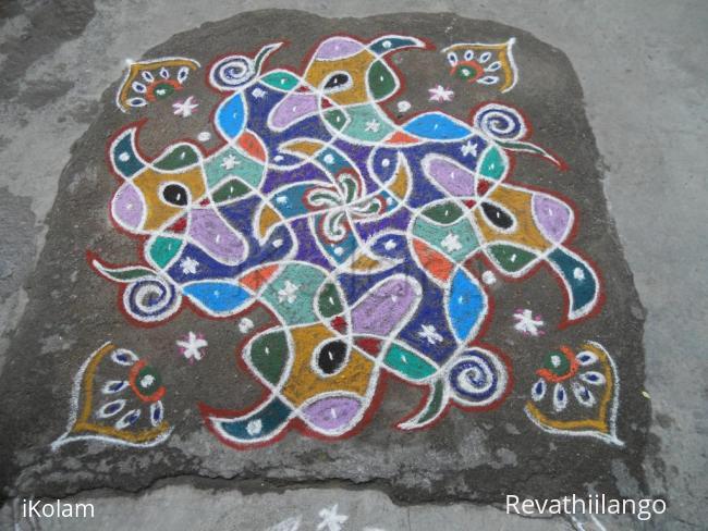 Rangoli: Rev's on the spot Adi velli new type swesthik chikku.