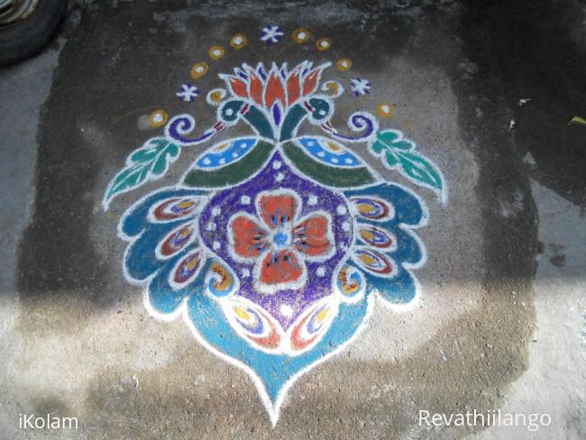 Rangoli:  Rev's Peacocks on varalakshmi pooja day.