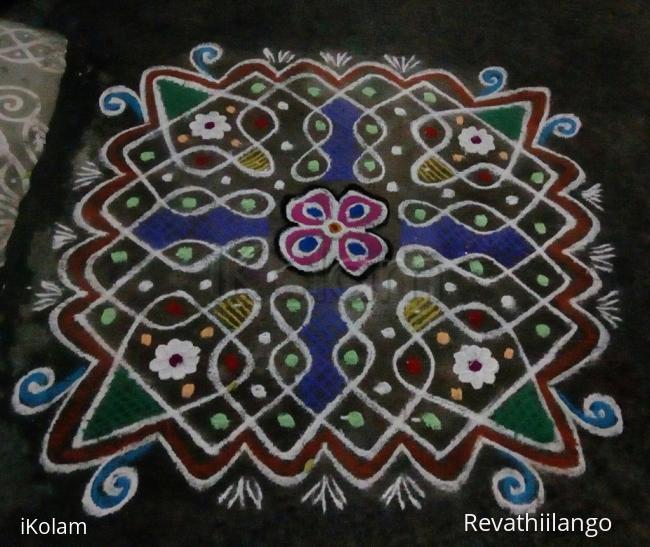 Rangoli: Rev's chikku kolam 47. Mayday wishes.