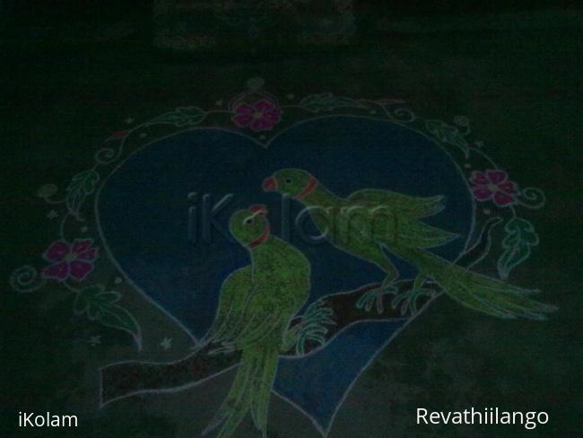 Rangoli: Valentine. My daughter's wedding kolam.