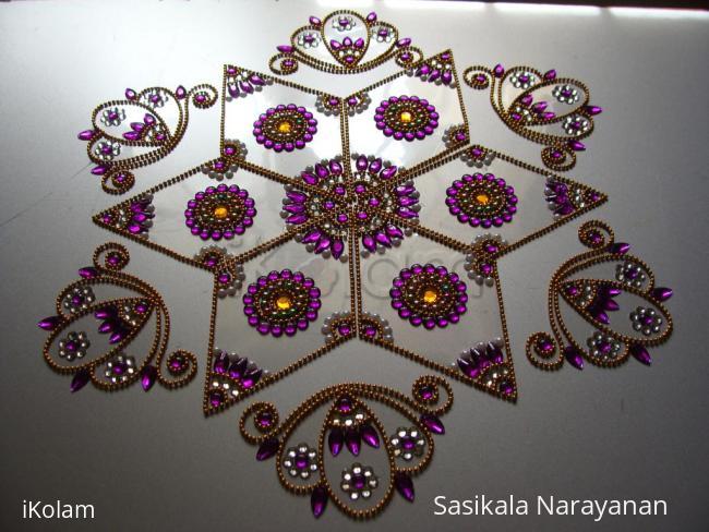 Rangoli: Kundan rangoli purple