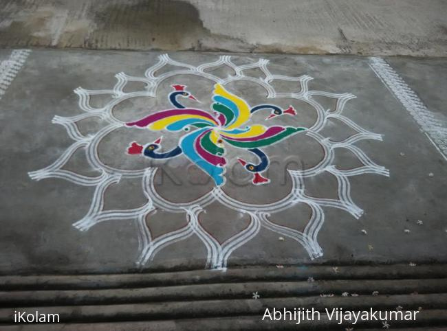 Rangoli: DANCING PEACOCKS FOR PANGUNI UTHIRAM