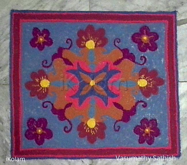 Rangoli: Designer mat rangoli without diya in light