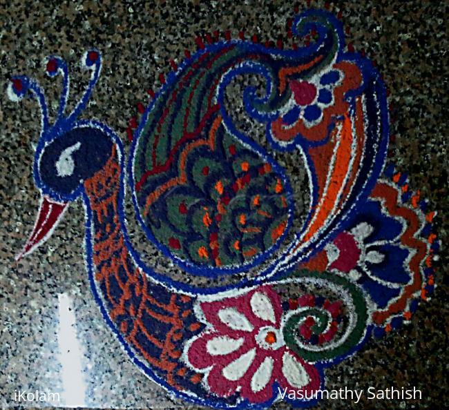 Rangoli: A Freehand Peacock Rangoli
