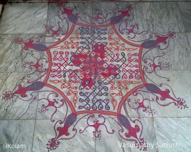 Rangoli: Chikku kolam  with 15 dots 5 lines till 5 straight dots