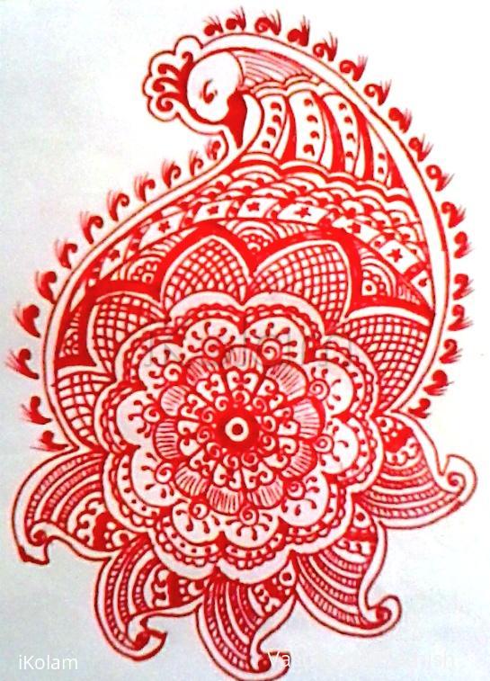 Rangoli: Freehand peacock rangoli.