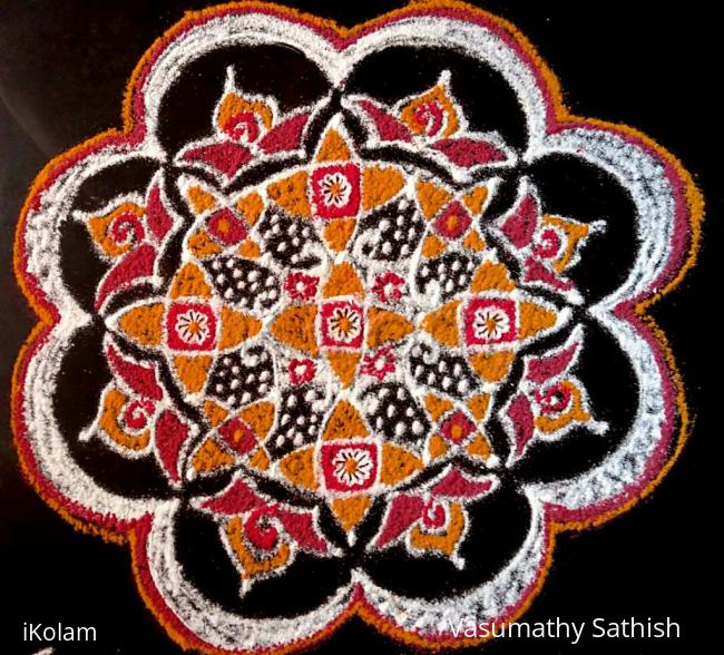 Rangoli: Dotted Pooja Kolam with  freehand  extension