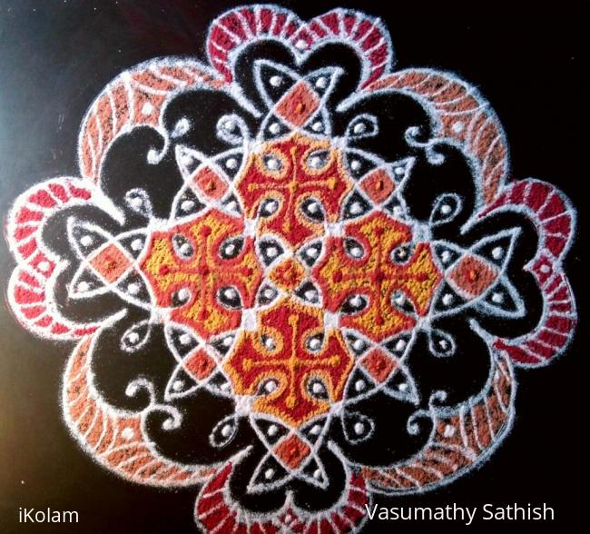 Rangoli: Simple Chikku with 10 dots 2lines  till 2 dots ( straight dots ).