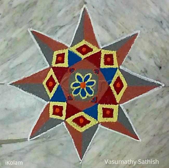 Rangoli: Beginner's Dotted Rangoli  with 7-7 Straight dots