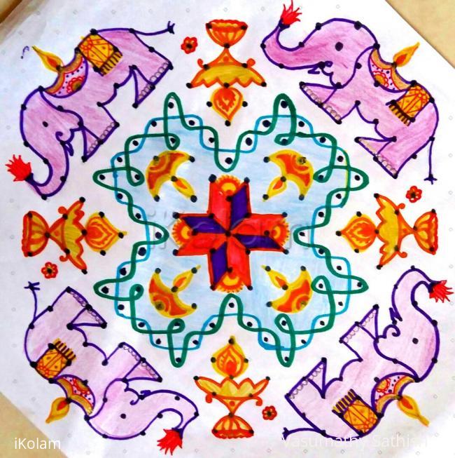 Rangoli: Gaja deepam rangoli for Karthigai with 19×5; till 5 Straight dots.