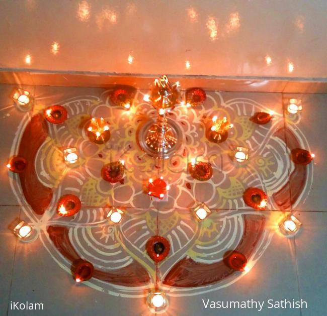 Rangoli: Happy Karthigai to all - Indoor Diya Deco for Karthigai