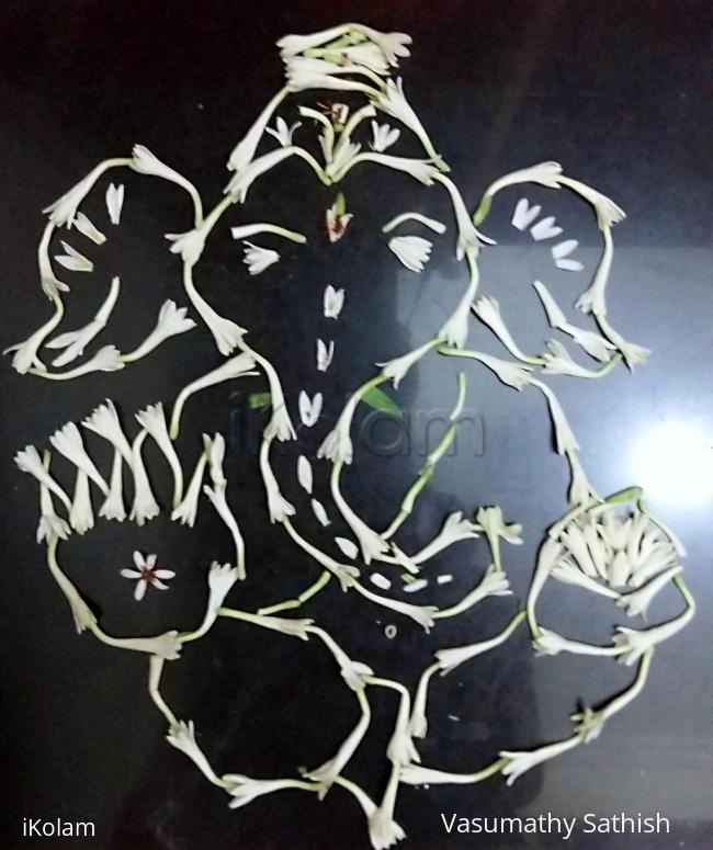 Rangoli: Pookolam #008 Sempanki Vinayakar.