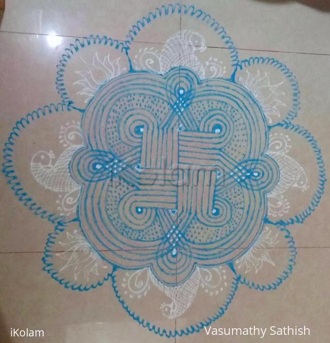 Rangoli: Navarathiri Day 10 Padi Kolam in Sky blue colour