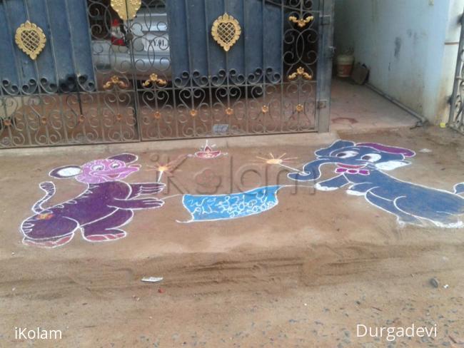 Rangoli: diwali mickey mouse rangoli