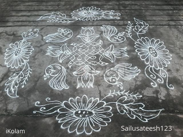 Rangoli: Melika muggu with lotus,birds..