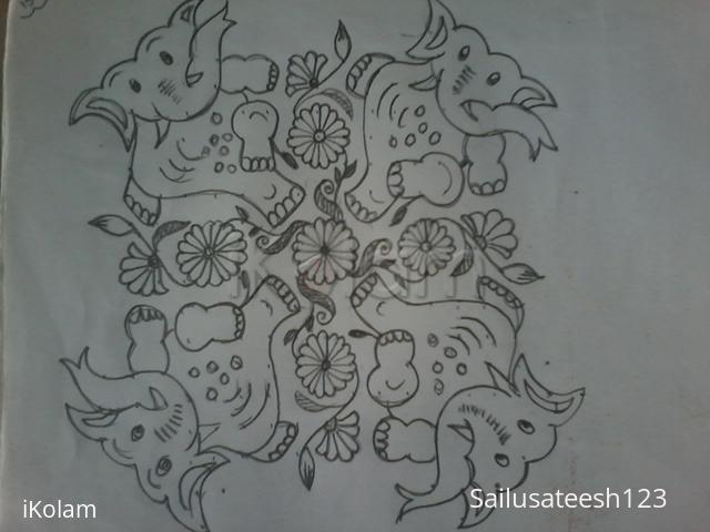 Rangoli: Dancing elephants....