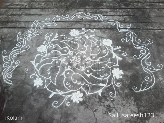 Rangoli: 9 to5 dotted birds kolam