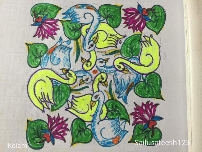 Rangoli: swans kolam,with 15-7 DOTS