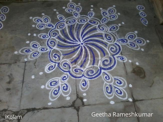 Rangoli: Vibrant blue kolam!