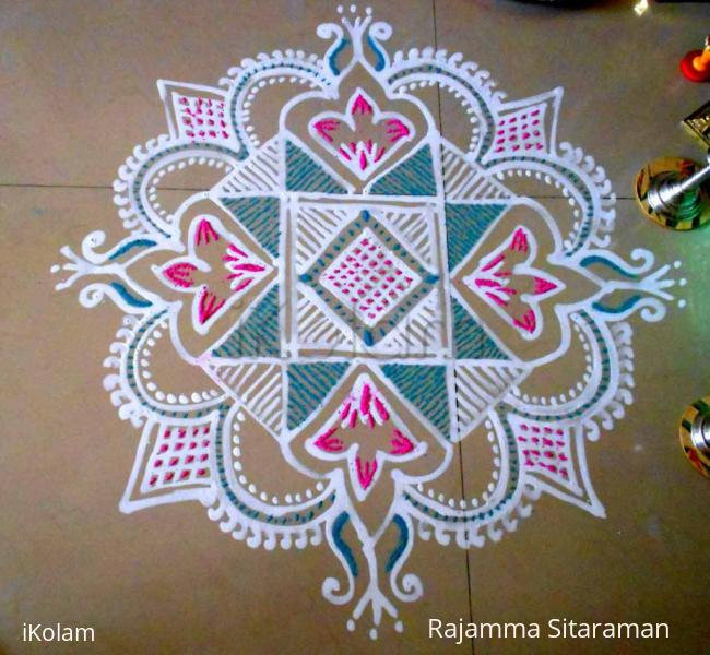 Rangoli: Navrathri- Pink/blue kolam for Navami and Dasami days.