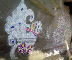 Rangoli: Swan chariot